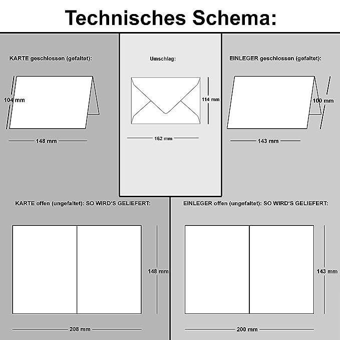 Tarjeta del paquete DIN A6/C6 con borde de onda | Color Crema | 24 Sets | doble de tarjetas con welligem borde & Sobres, 14,8 x 10,5 cm | con estuche ...