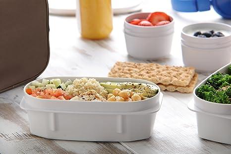 Kit Urban Food con Cubiertos en Acero Inoxidable 18/0 Niquel Free - Bolsa Térmica Porta Alimentos con 4 Tapers Herméticos. Burdeos