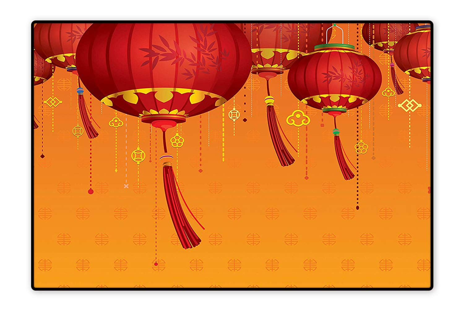 Amazon.com: Indoor/Outdoor Floor Mat Ative Chinese Lanterns Hang on The Air  New Year Asian Art Style Graphic Design Red Orange Easy Clean 6'x9':  Kitchen & ...