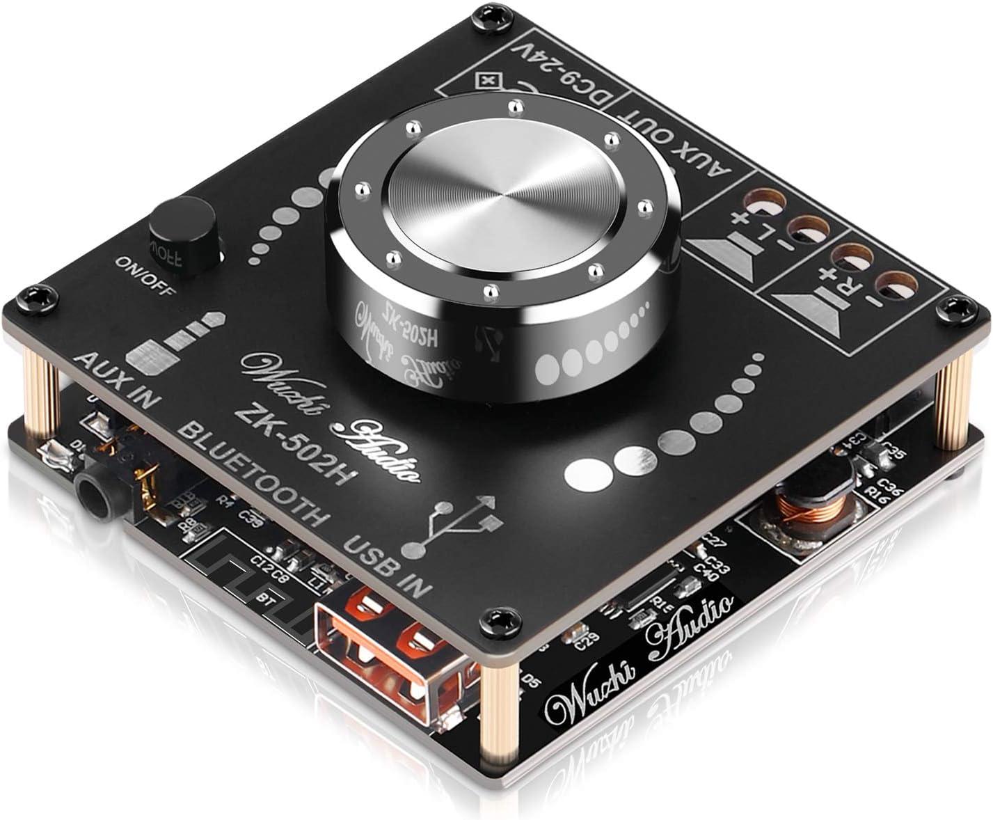 MakerHawk Bluetooth Amplifier Board Hifi Stereo 2.0 2X50W Audio Amplifier Module TPA3116D2 Digital Power Amplifier Bluetooth 5.0 Dual Channel AMP with AUX/USB/Bluetooth/Flash Drive/PC Sound Card Input