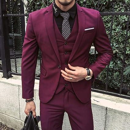 GFRBJK Trajes de Hombre Chaquetas de Esmoquin Rojo púrpura Trajes ...