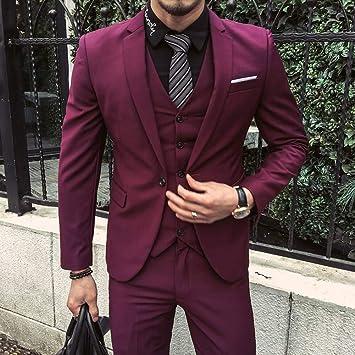 GFRBJK Trajes de Hombre Púrpura Rojo Chaquetas de Esmoquin ...