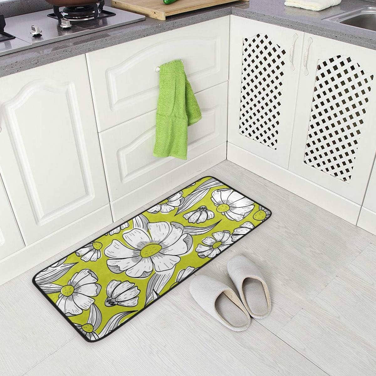 SENNSEE Flowers Pattern Yellow Kitchen Floor Mat Door Mats Inside ...