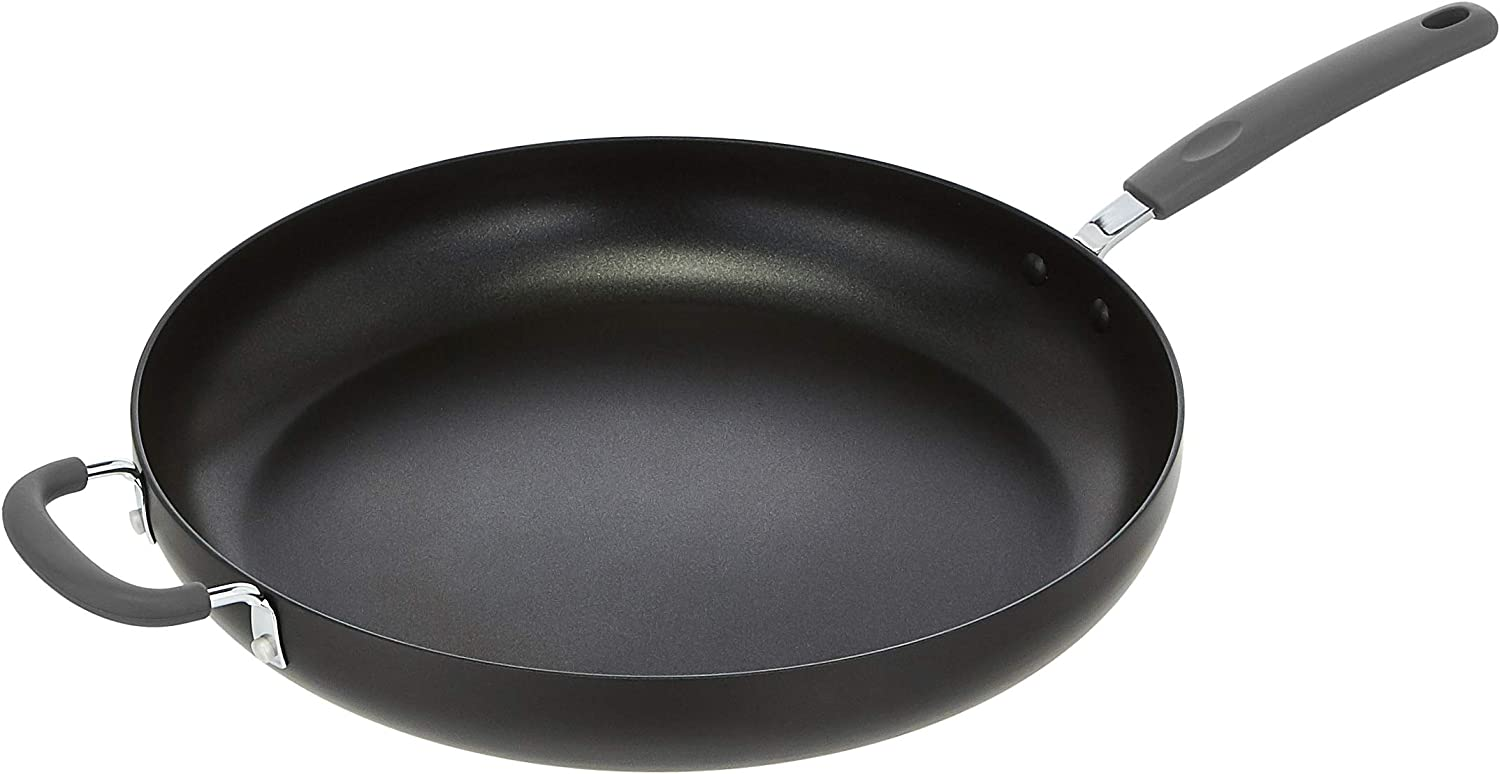AmazonBasics Hard Anodized Non-Stick 14-Inch Skillet with Helper Handle, Grey