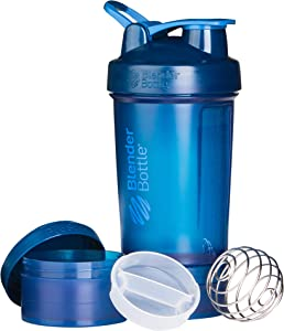 BlenderBottle ProStak System with 22-Ounce Bottle and Twist n' Lock Storage, 22 oz, Navy