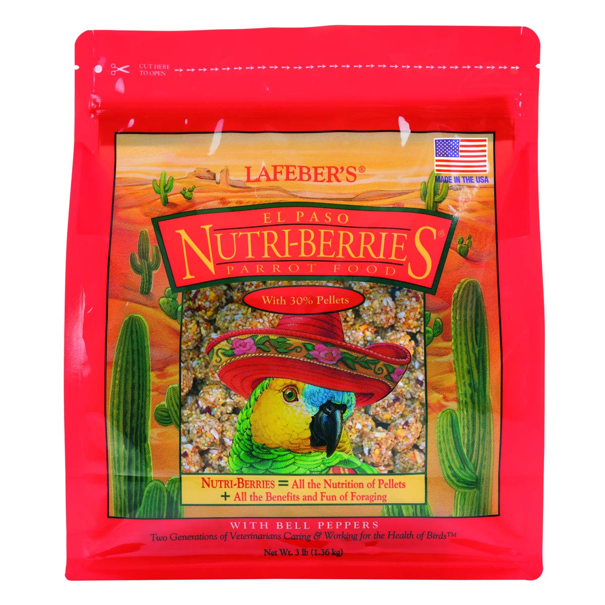LAFEBER'S El Paso Nutri-Berries Pet Bird Food, Made with Non-GMO and Human-Grade Ingredients, for Parrots, 3 lbs by LAFEBER'S