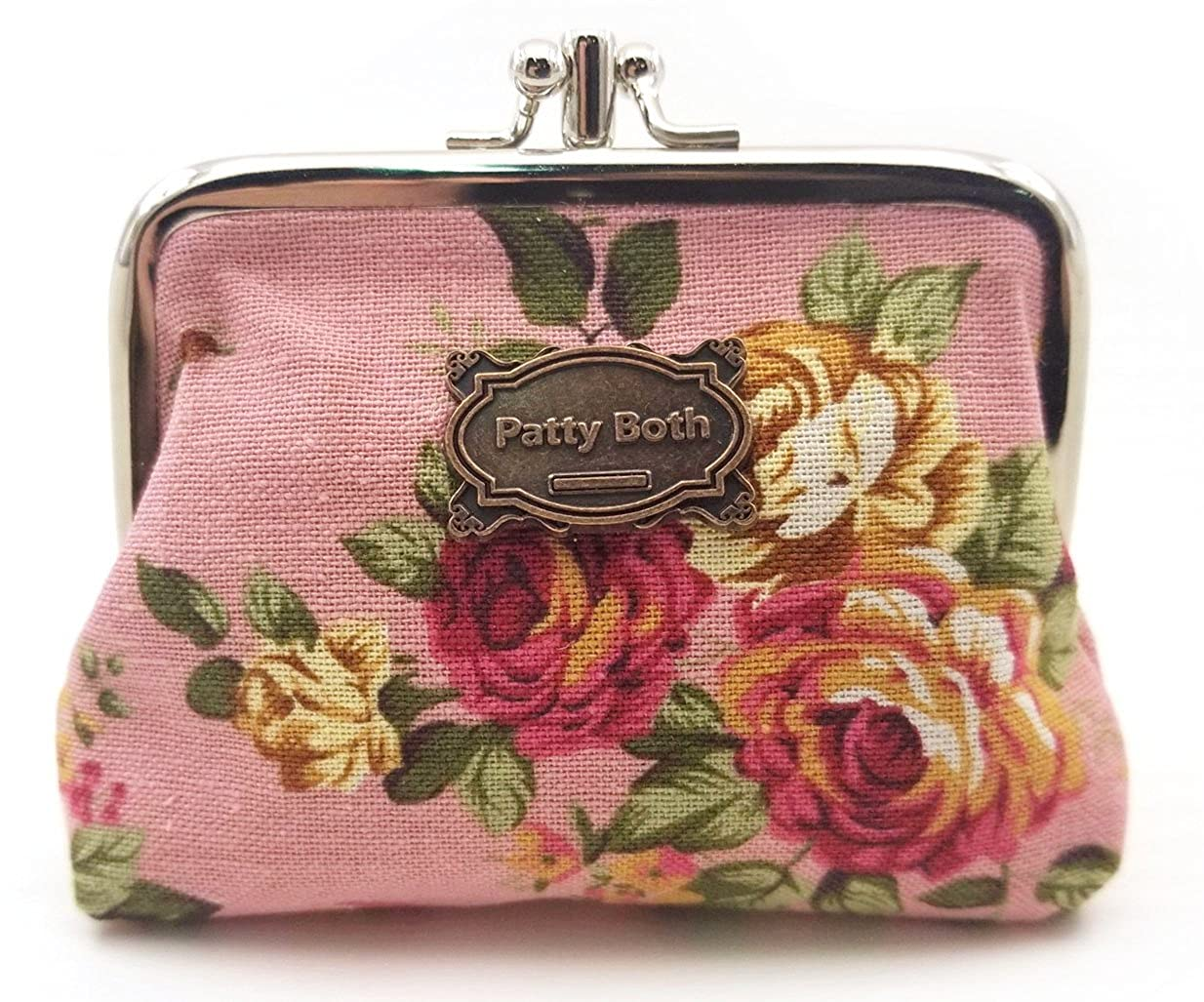 Patty Both Cute Classic Floral Exquisite Buckle Coin Purse bag-Black 02