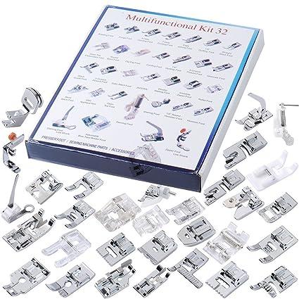 aihometm multifuncional 32pcs Doméstico Máquina de coser eléctrica piezas juego de pies prensatelas para la mayoría