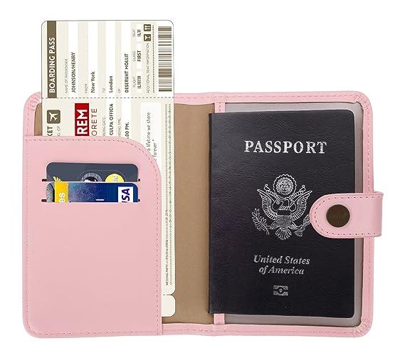 Zoppen RFID Blocker Schutzhülle Reisepasshülle Ausweishülle ID Halter, Grau/Pink
