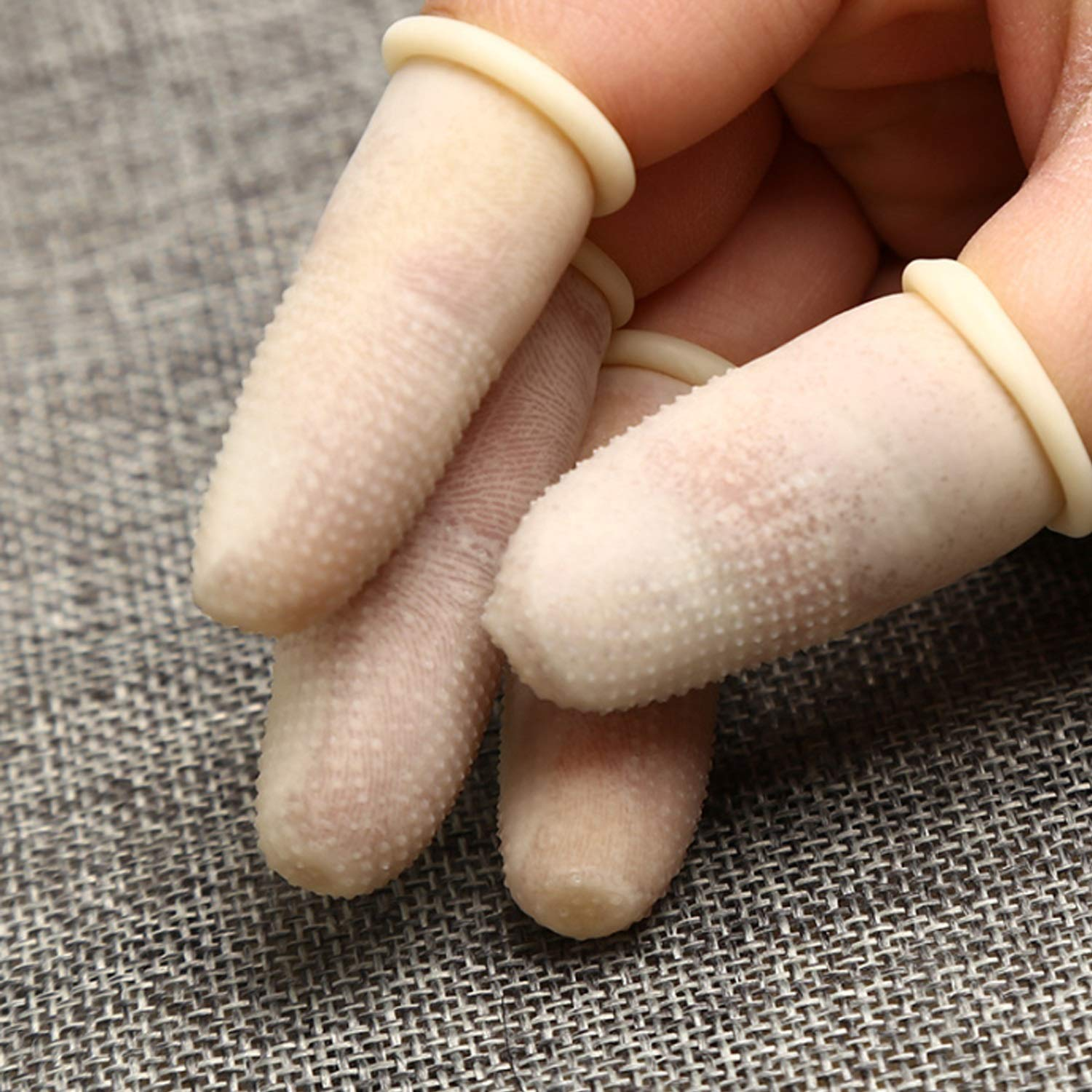 LING--Work gloves 100 PCS Disposable Latex Finger Cots,Anti-Static Rubber Fingertips Nitril (Color : White, Size : M-Three Packs)