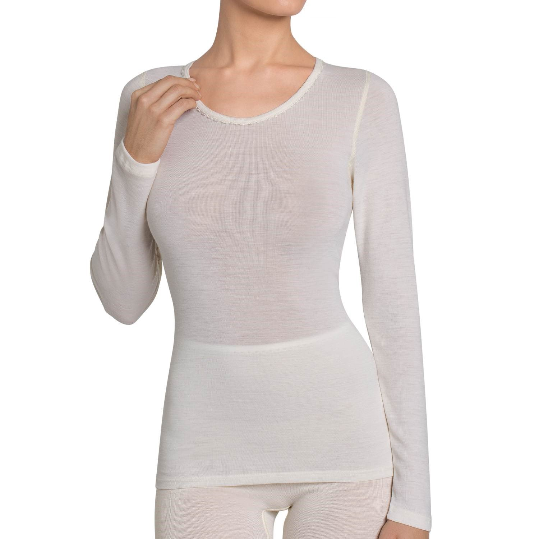 Maglia Donna Manica Lunga TRIUMPH Art. Wool Essentials Shirt 04 Pura Lana dalla taglia S alla XXL - Bianco