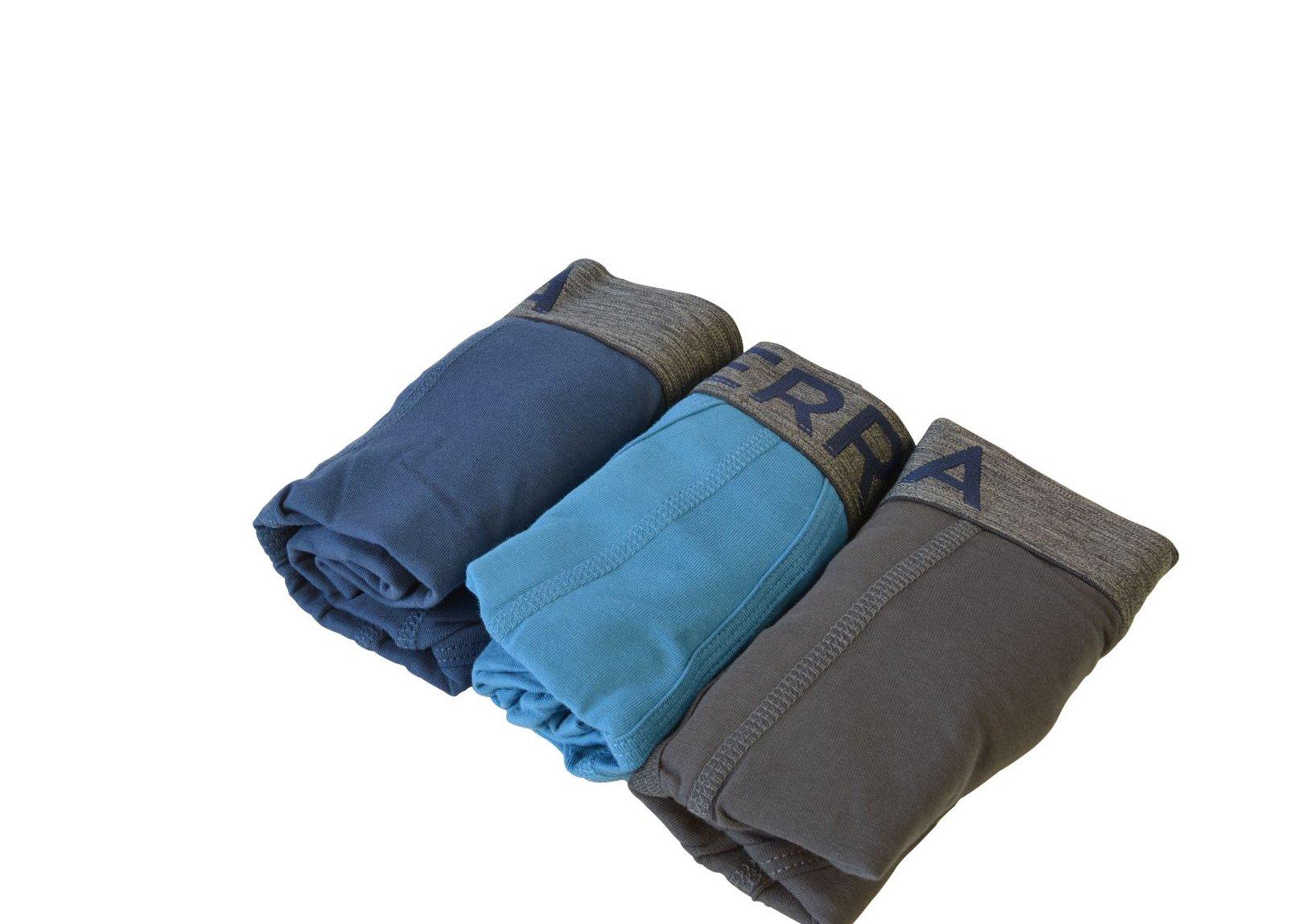 Terra Men\'s Cotton Classic Stretch Boxer Brief, Assorted Underwear, 3-Pack, Black/Grey Light Blue/Grey Dark Blue/Grey, X-Large