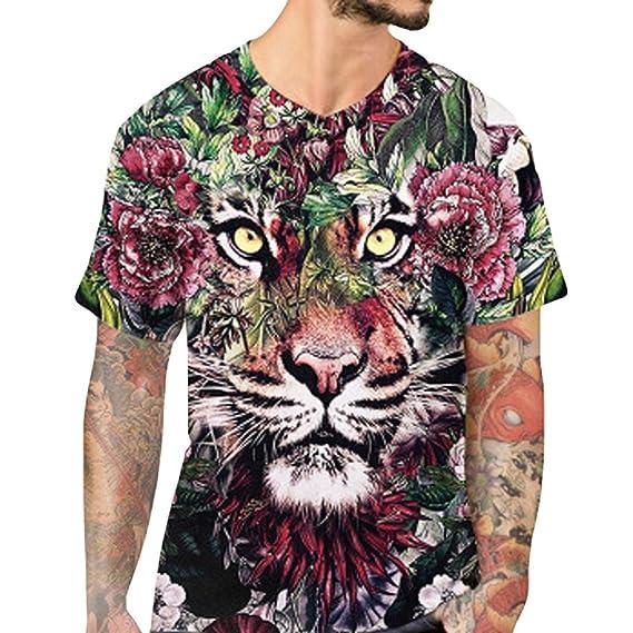 Camiseta para Hombre, Personalidad para Hombre, Tiger Casual Camisa de Manga Corta Top Blusa
