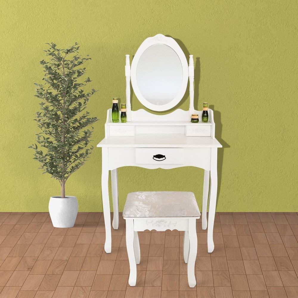 Joolihome Makeup Vanity White Table Set 3 Drawers Wood Bedroom Dressing Table Stool Set with Oval Mirror by Joolihome (Image #3)