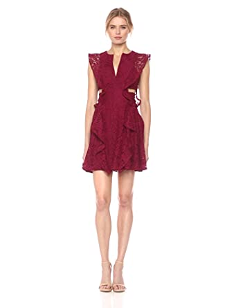d357caa75fd BCBGMax Azria Women s Lydia Knit Lace Dress with Ruffles and Side Cutouts