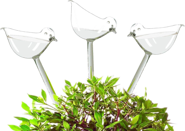 Adabocute Glass Watering Globe - 3 Pack Plant Watering Bulbs - Bird Shape self Watering for Indoor and Outdoor Plants