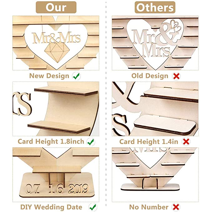 Aparty4u Mr & Mrs Ferrero Rocher - Soporte con 25 números de madera ...