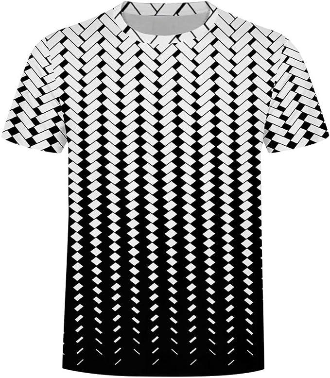 Camiseta de Manga Corta de algodón para Hombre, Cuello Redondo ...