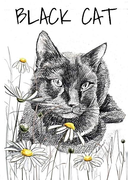 Tarjeta de felicitación de gato negro, tarjeta de gato negro ...
