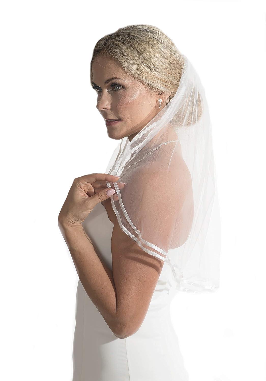 Unbekannt Schleier Brautschleier 1 Lage mit Kamm 1-lagig Hochzeit Braut NEU Bandrand