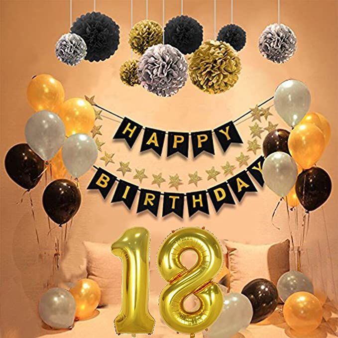 Yoart 18th Birthday Decorations Party Sets For Men Boy Happy Banner With DIY Tissue Paper Pom Poms Latex Balloons