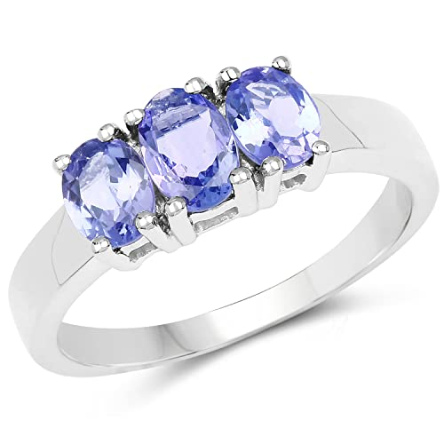 Johareez 1.10 cts Tanzanite .925 Sterling Silver Rhodium Plated Ring for Women