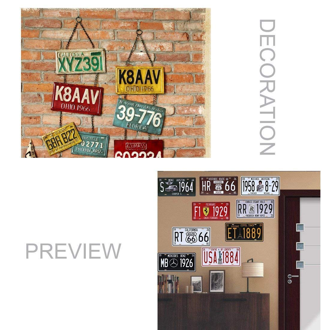 6 x 12 Multicolor metal eureya Retro Vintage Auto placa de licencia para coche etiqueta Home//Cafe Bar//Pub//restaurante//Exposici/ón pared decoraci/ón arte P/óster 6/x 12