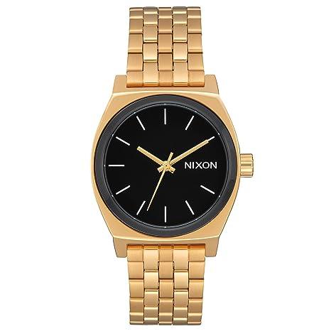 Nixon A1130222600 - Reloj para Mujer Medium Time Teller 31mm, Oro/Negro