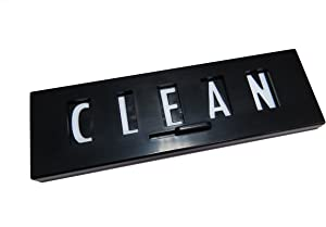 Black Clean Dirty Dishwasher Magnet Sign with White Type
