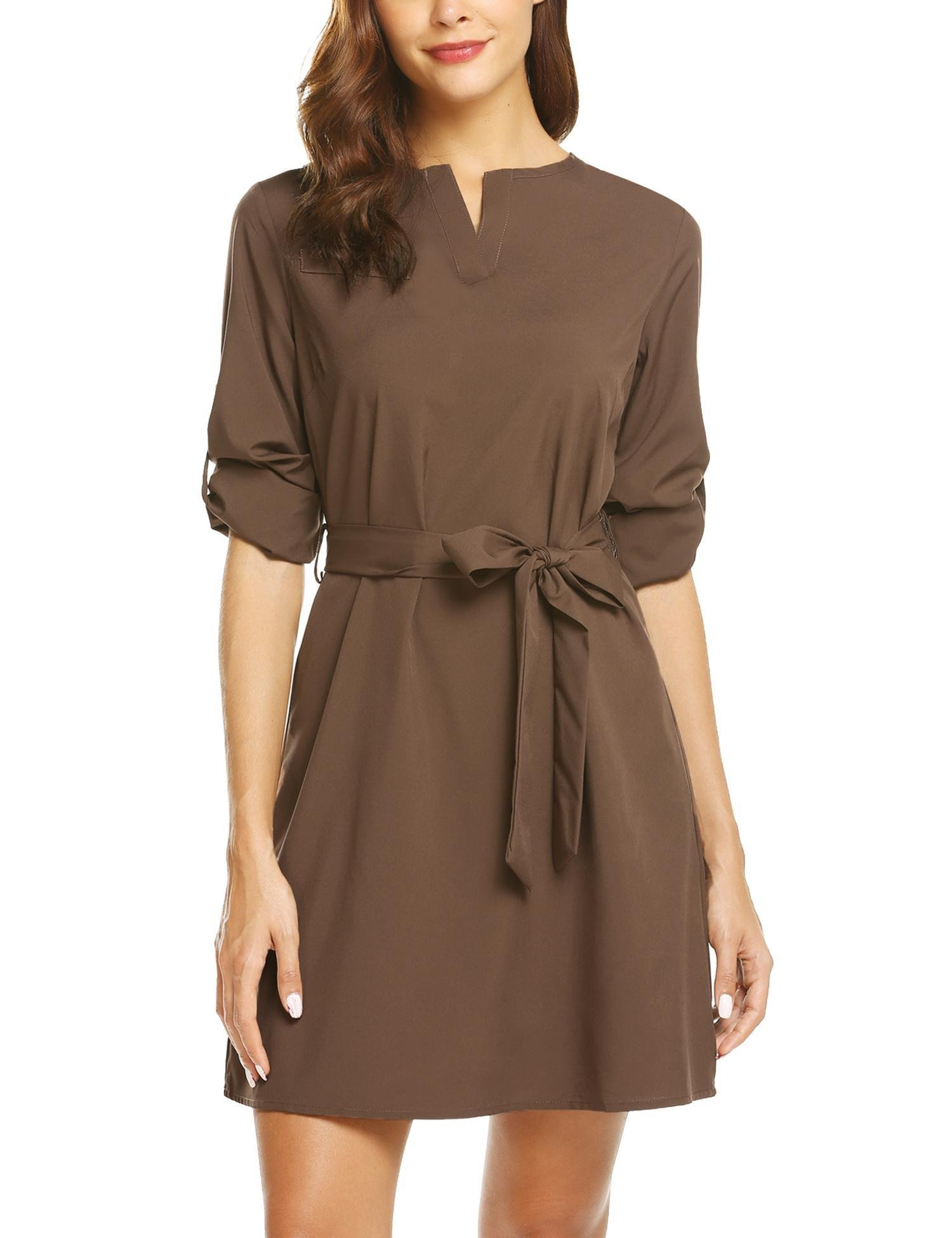 SE MIU Women Loose Solid Work Belted Office Crew Neck Shirt Dress, Brown, M