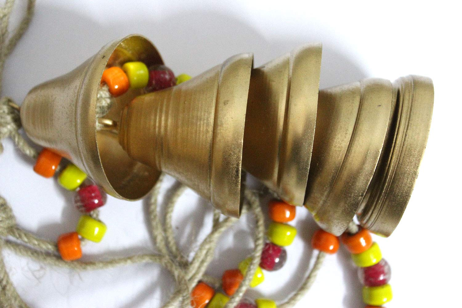 Mango Gifts Decorative String of 5 Metal Golden Indian Style Wall Hanging Bells mgt-5bells
