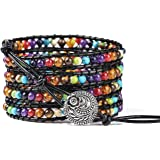 PLTGOOD Bead Chakra Bracelet Cuff Rope Bead 5 Wrap Adjustable 7 Chakras Healing Bracelet for Men Women - Handmade Yoga…