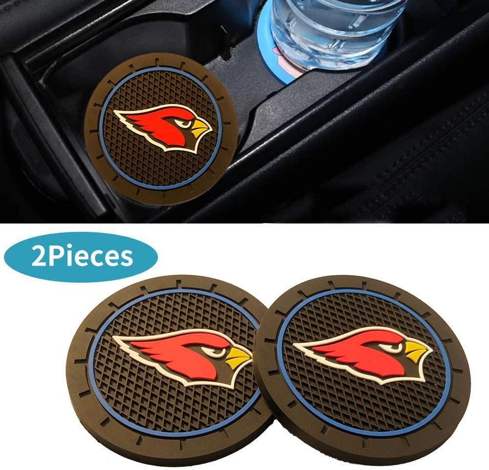 CAR FANS 2Pcs Durable Silicone Cup Holder mat for Arizona Cardinals,Auto Cup Holder Insert Coaster pad(Arizona Cardinals)