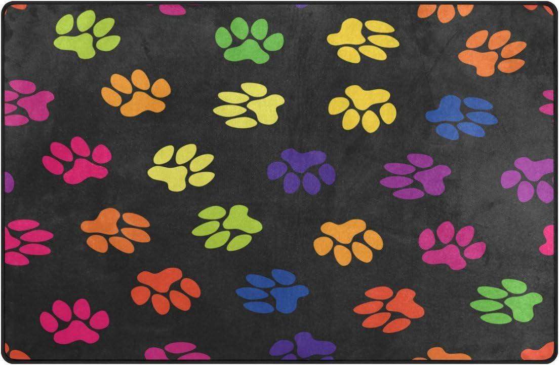 WOZO Vintage Paw Print Area Rug Rugs Non-Slip Floor Mat Doormats Living Room Bedroom 60 x 39 inches