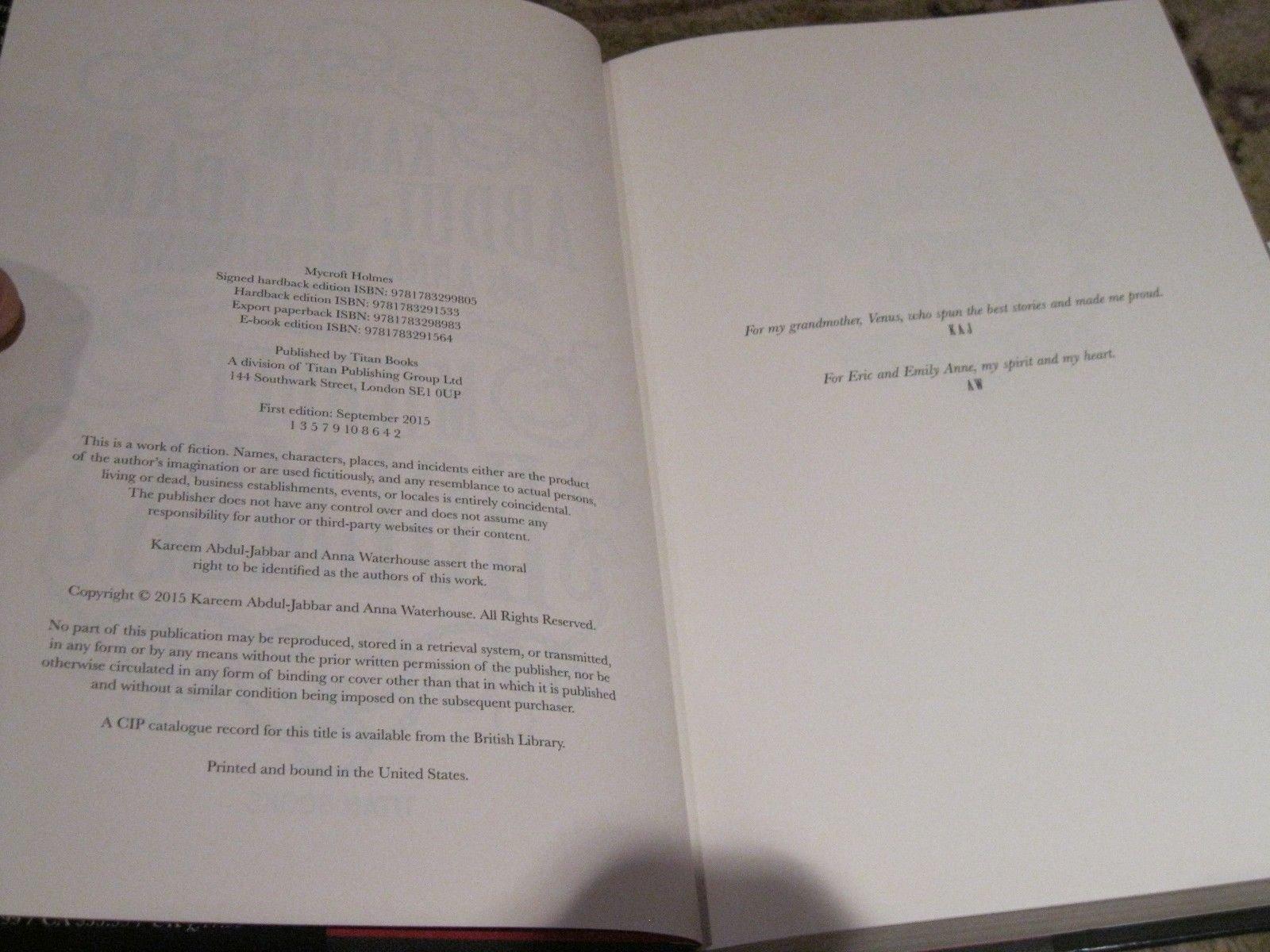 Kareem Abdul Jabbar Signed Autograph Mycroft Holmes Book JSA Certified Cert