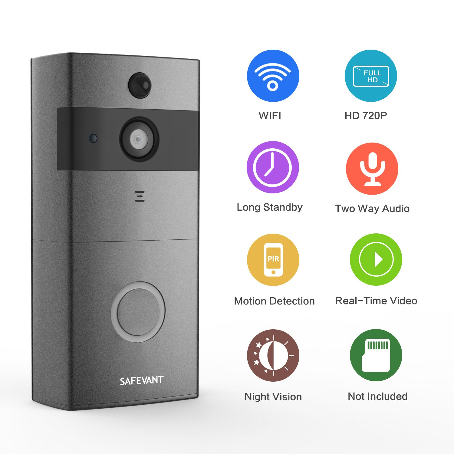 [2018 Newest] Doorbell Wireless,Safevant Smart Doorbell with PIR Motion Detection,720P Doorbell Camera, Real-Time Video and Two-Way Talk,Night Vision,Phone Ring,Free APP,Gray