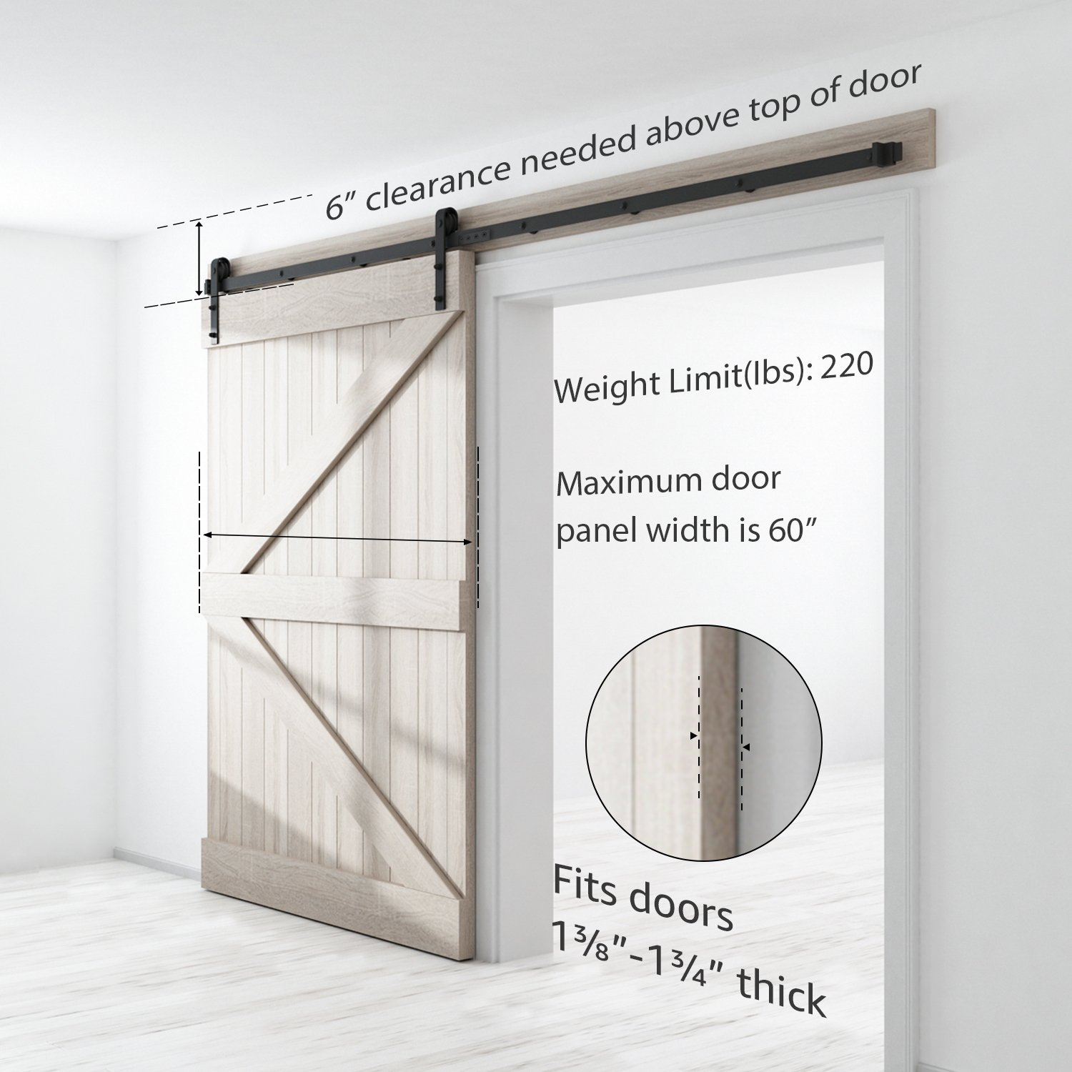 SMARTSTANDARD SDH1000JSHAPE01BK Heavy Duty Sturdy Sliding Barn Door Hardware Kit, 10' DoubleRail,Super Smoothly and Quietly, Simple and Easy to Install, Fit 60'' Wide DoorPanel by SMARTSTANDARD (Image #3)