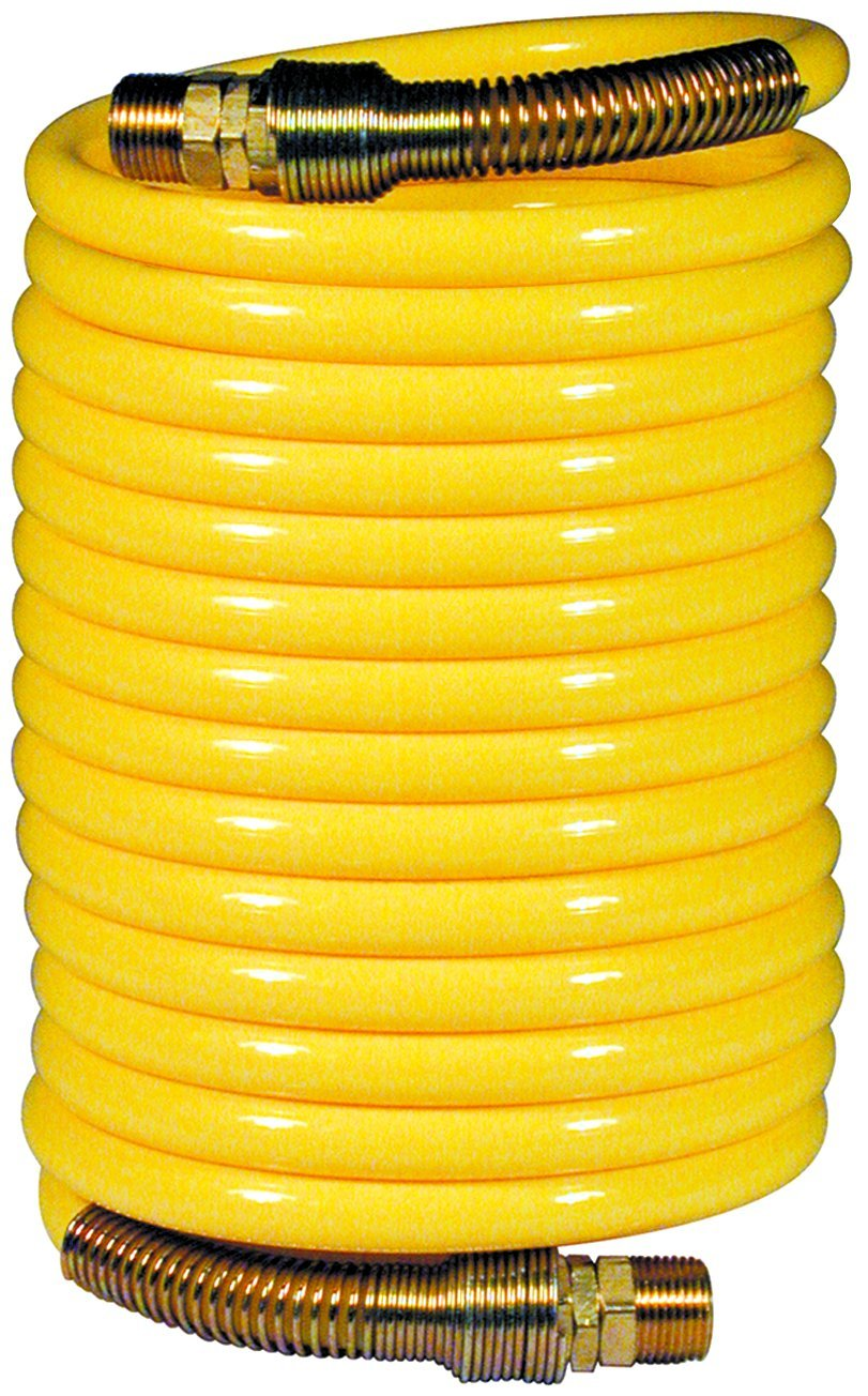 Amflo 6-25 Yellow 200 PSI Nylon Recoil Air Hose 3/8'' x 25' With 3/8'' MNPT Swivel End Fittings