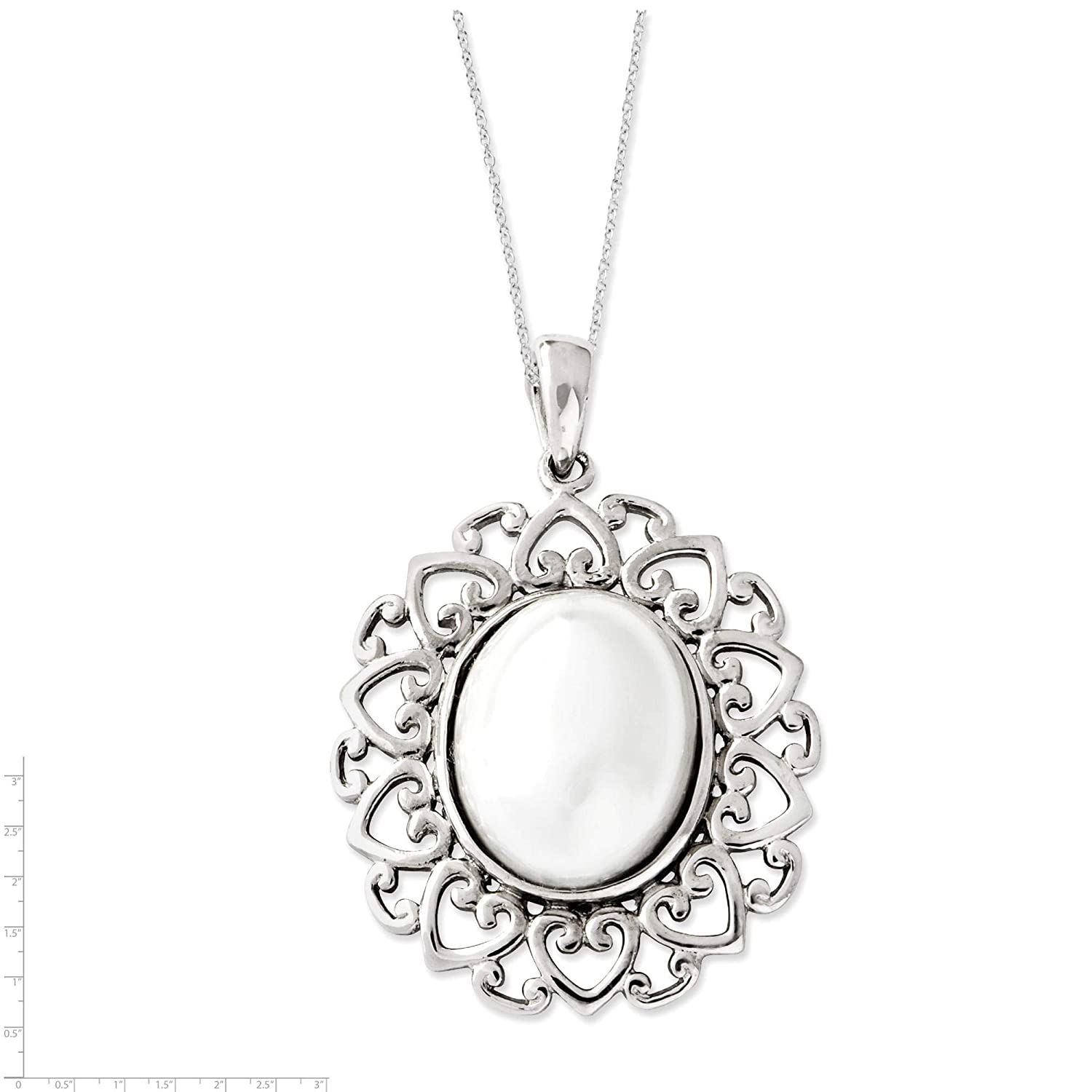Sterling Silver Simulated-Pearl Pearl Of Contentment Pendant Necklace 18 by Sentimental Expressions