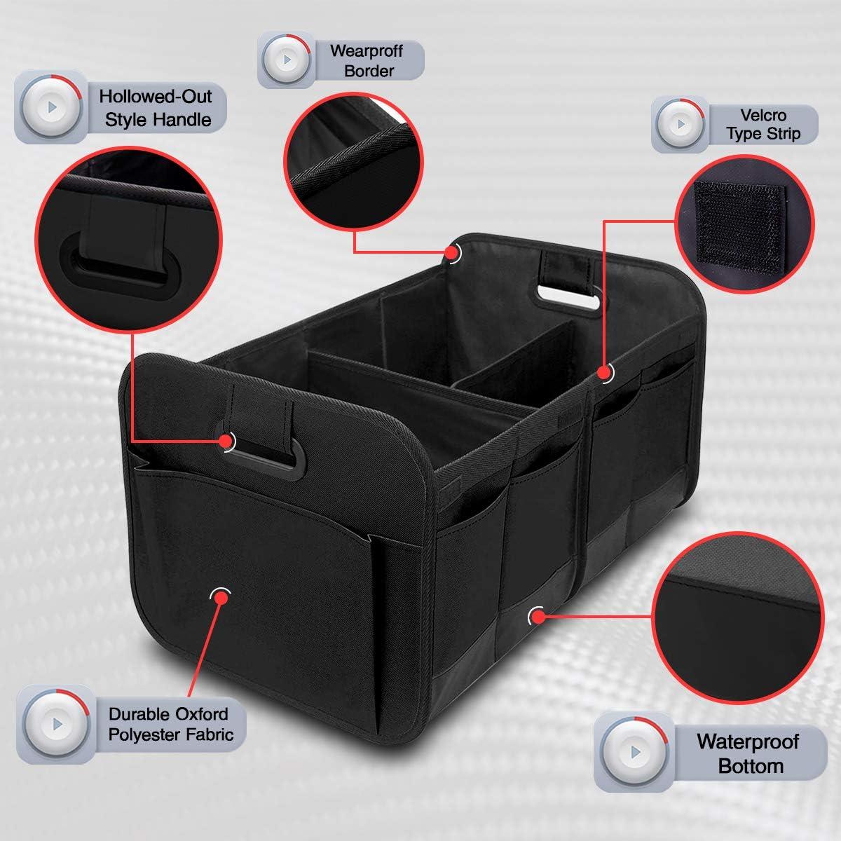 Auto Durable Collapsible Cargo Storage Non Slip Bottom Strips to Prevent Sliding Black Car Trunk Organizer for SUV Truck