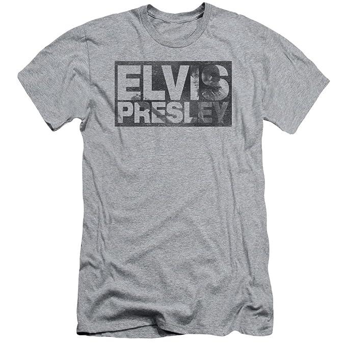 Elvis Presley - Letras de molde ajuste delgado de la camiseta de los hombres de, Large, Athletic Heather: Amazon.es: Ropa y accesorios
