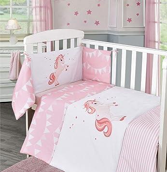 Nursery Pink Magic Unicorn Baby Bale Bedding Set Printed Cot Quilt