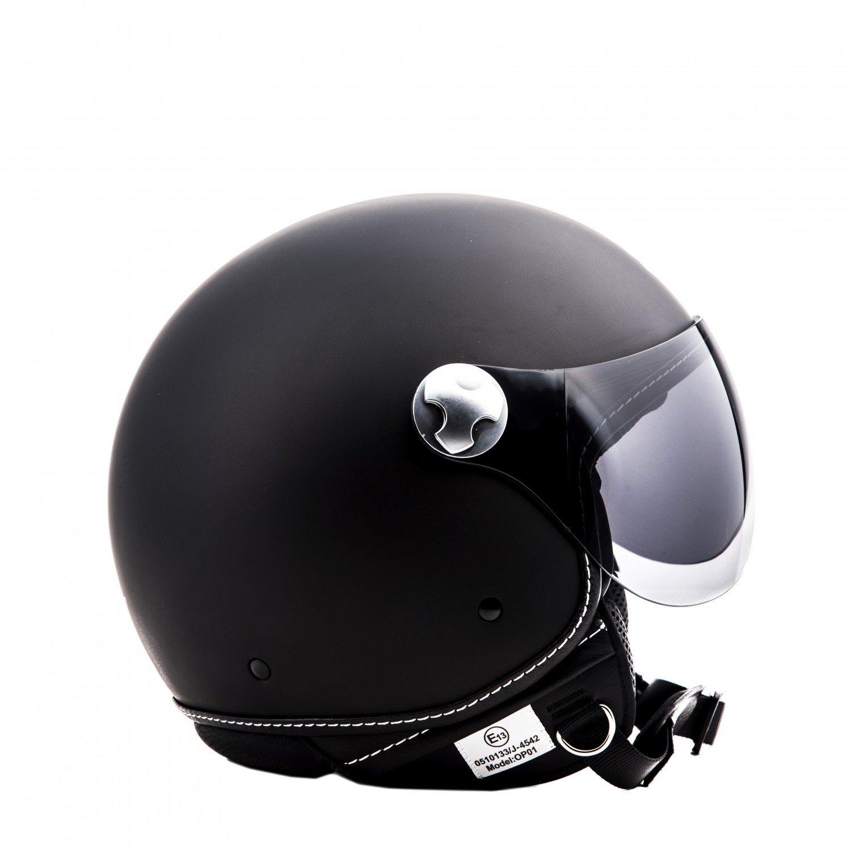 """55-56cm /· Open Face Helmet /· Motorcycle Pilot Motorbike Jet Scooter Retro /· ECE certified /· Visor /· Click-n-Secure Clip /· Carrier Bag /· S Armor /· AV-84 /""""Vintage Deluxe White/"""" white"""