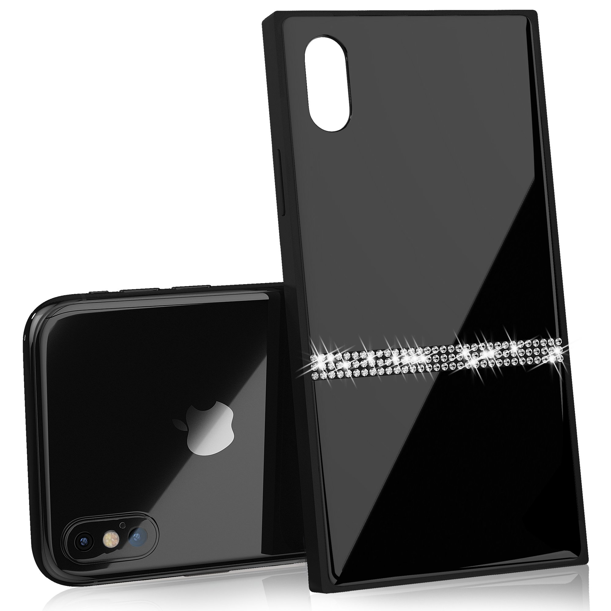Luxury iPhone X Case with Rhinestones and 9H Tempered Glass, Drop Protection, Wireless Charging Compatible for Apple iPhone X (2017) - Black