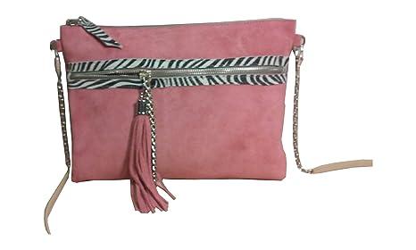 Cartera de piel afelpada en color rosa palo ,con motivos cebra: Amazon.es: Equipaje