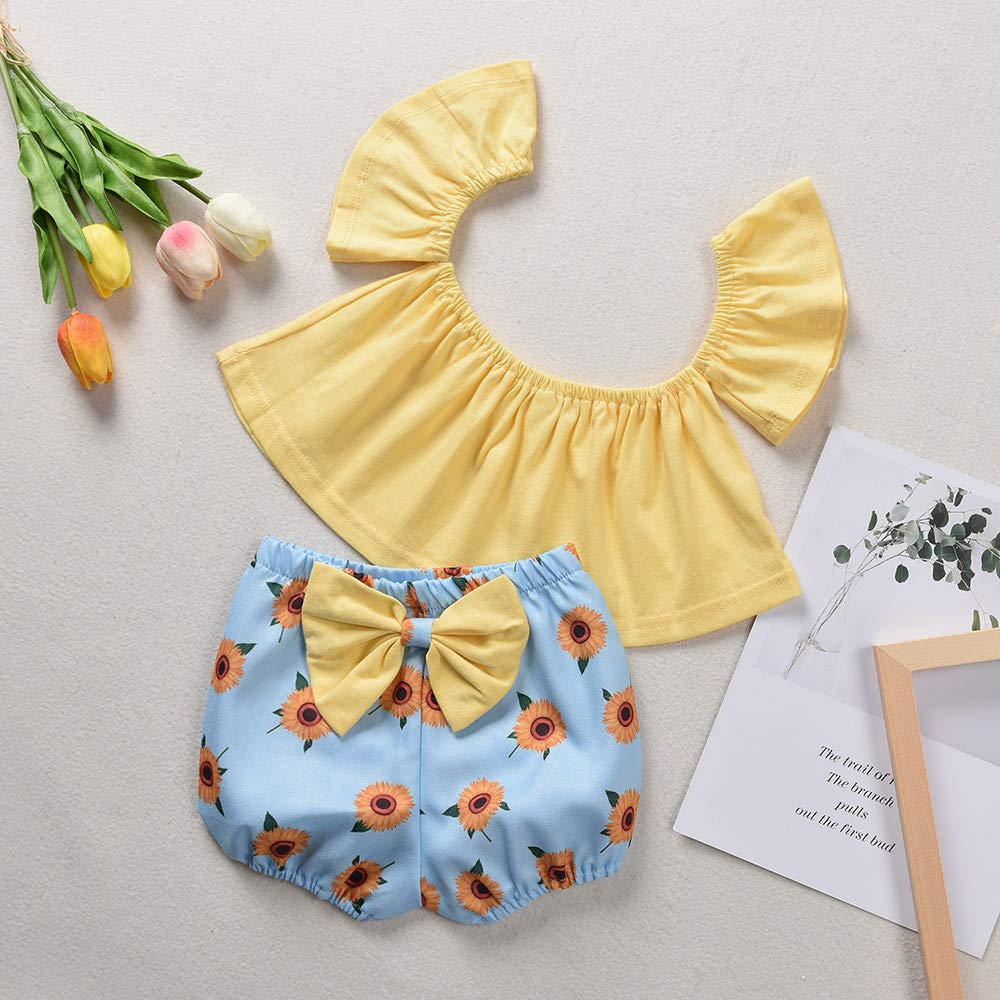 Amazon.com: Conjunto de ropa para niña con diseño de girasol ...