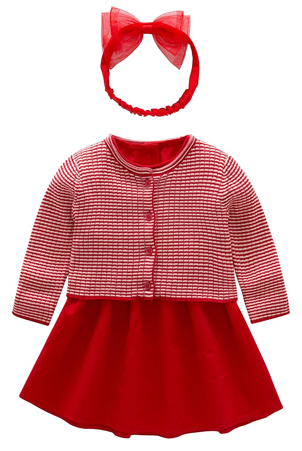 LUOTING Baby Girl Red Dress 3pcs Coat With Headband