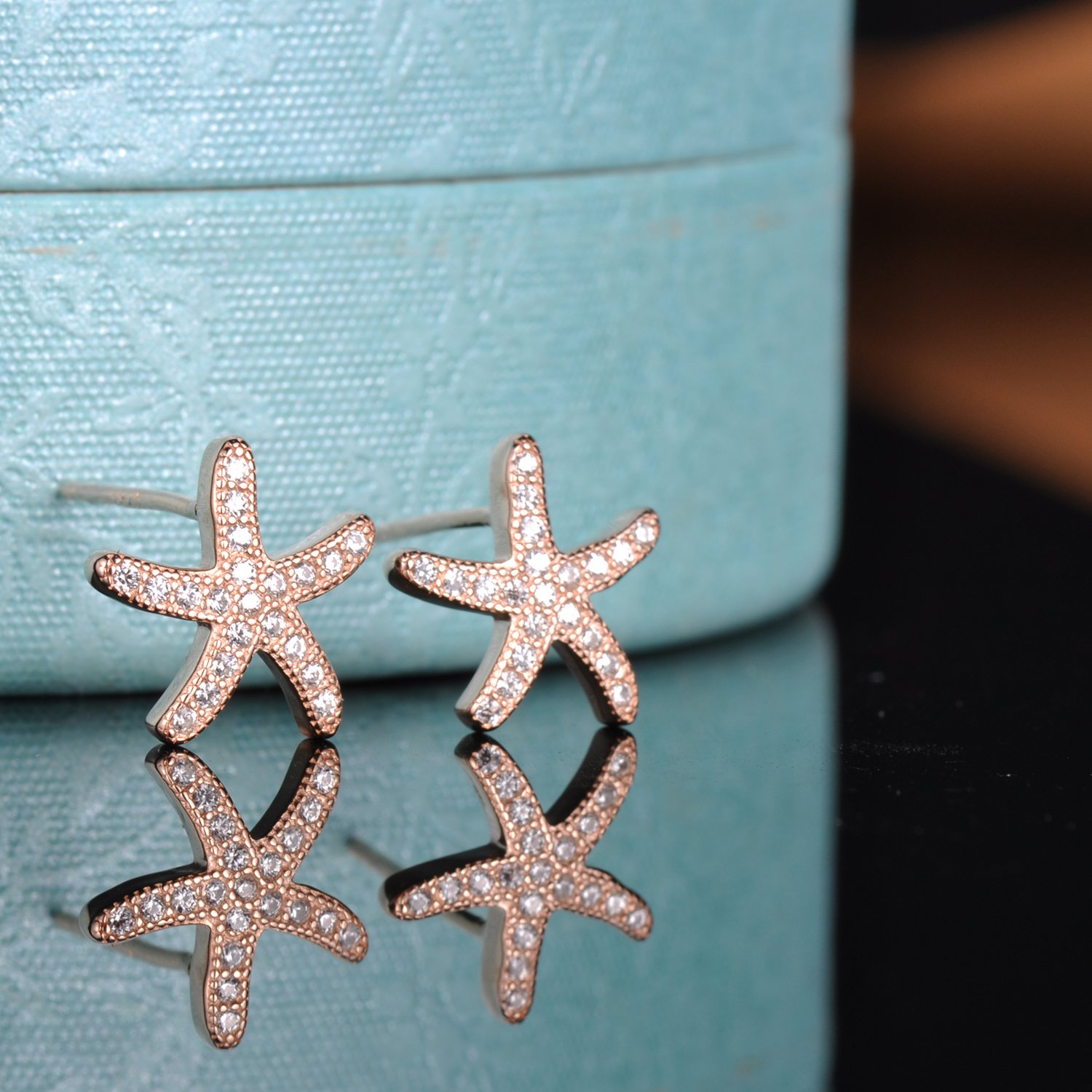 Yumilok Jewelry 925 Sterling Silver Cubic Zirconia Rose Gold Plated Starfish Stud Hypoallergenic Earring for Women//Ladies//Girls