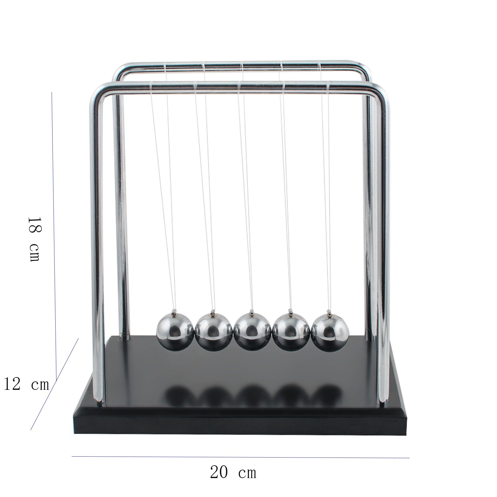 Carejoy Newton\'s Cradle, Newton\'s Cradle Balance Balls with Metal Balance Ball and Black Wooden Base accompany Your Child's Grown-up
