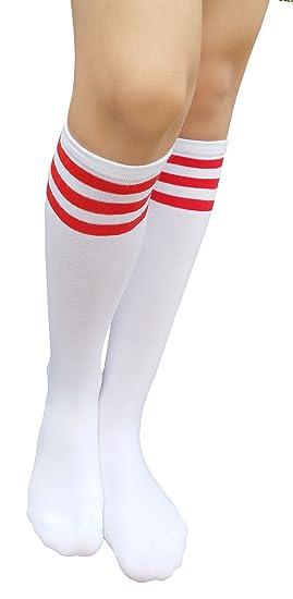 9c0d14970 AM Landen Stripe Knee High Socks Stripe Socks Knee Socks Girls Socks(White  with Red
